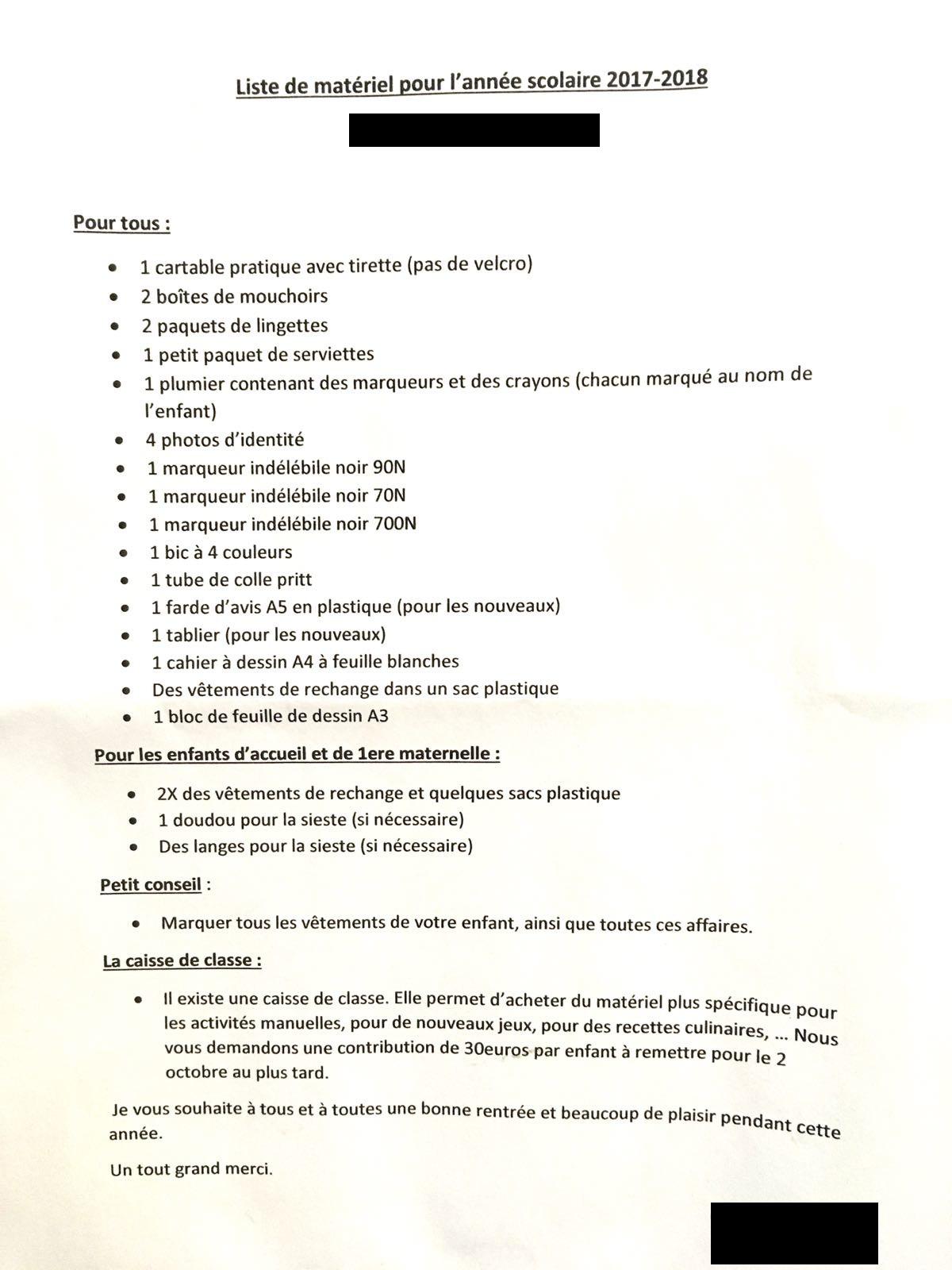 Exemple de liste de matériel scolaire de 2e maternelle.
