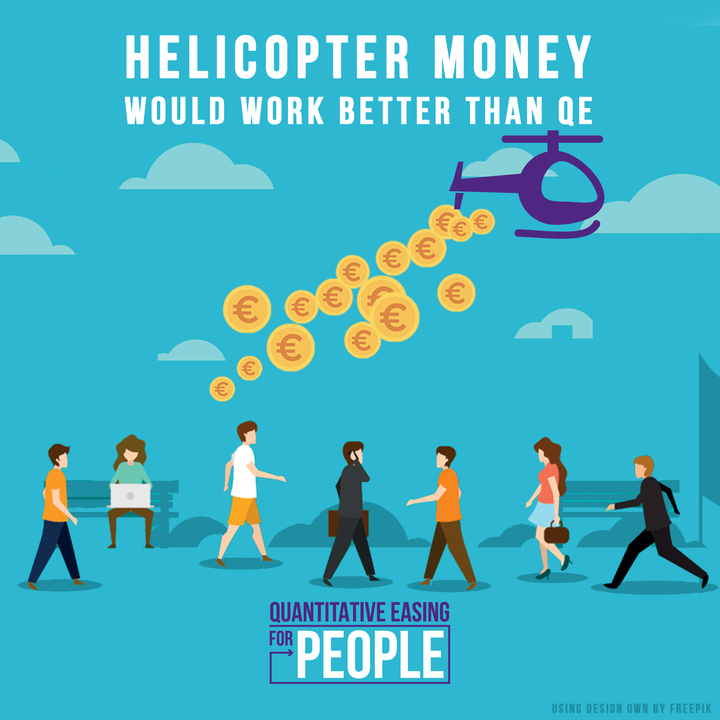 helicopter throws money to people