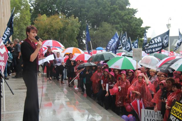 United Voice WA Secretary Carolyn Smith addresses crowd outside Parliament House (September 03)