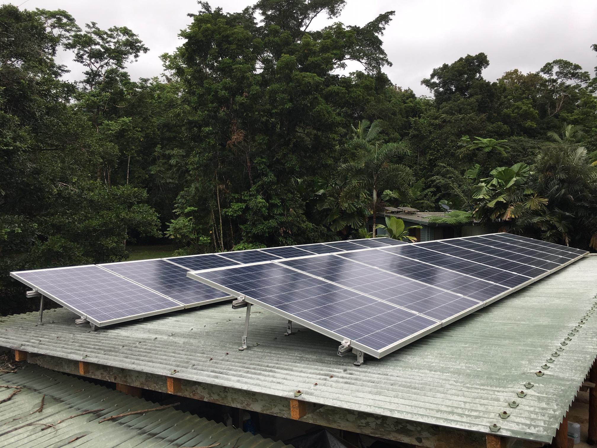 Solar panels generating power in the Daintree Lowland Rainforest