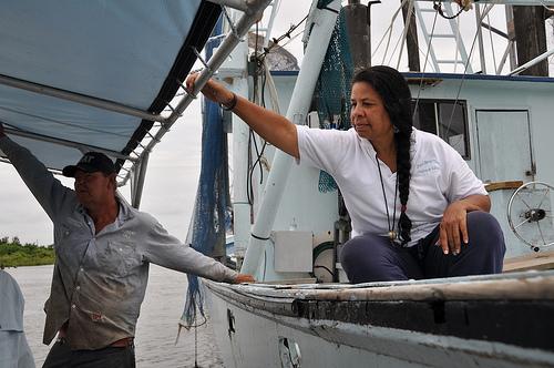 Rosina Phillipe of Grand Bayou Nation welcomes Ecuadorean leaders