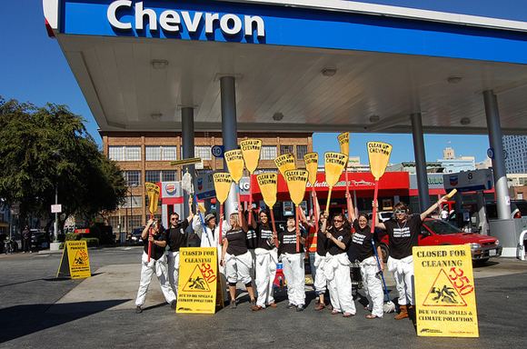 Change Chevron image: Getting to work cleaning up Chevron stations for 10/10/10
