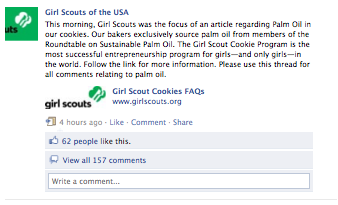Girl Scouts Facebook Post