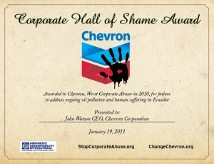 Chevron Hall of Shame certificate