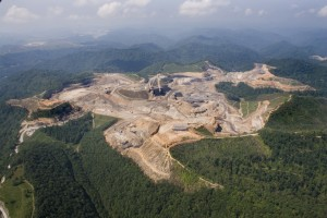 Mountaintop removal mining at Rawl, West Virginia