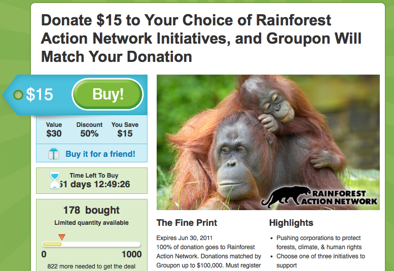Rainforest Action Network Groupon Screenshot