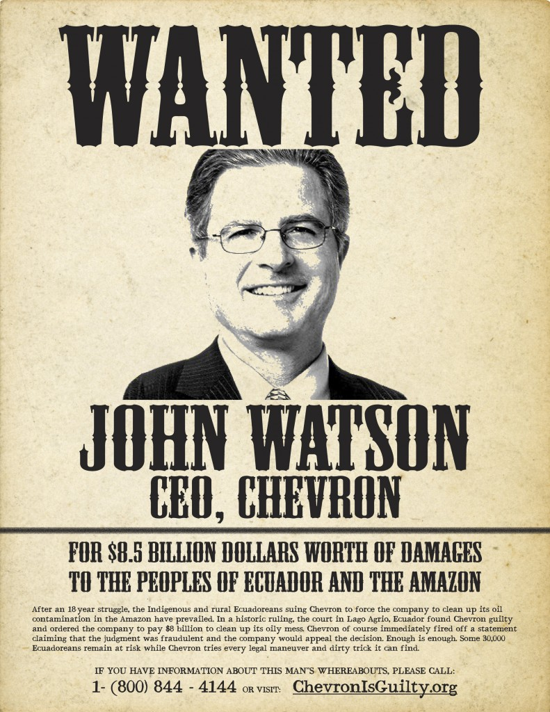 Chevron CEO John Watson wanted poster