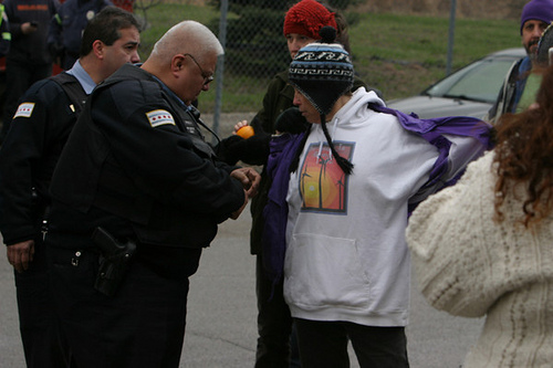 Activst getting arrested at coal plant in Chicago