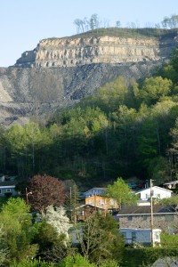 A mountaintop removal mine above a community in Appalachia