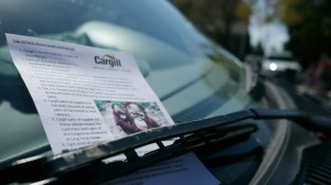 Cargill flier on a Wayzata windshield