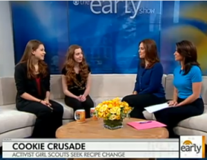 Girl Scouts Rhiannon and Madi on the CBS Early Show