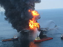 Deepwater Horizon offshore drilling unit on fire, April 2010