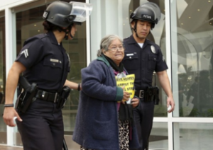LA grandmother being evicted by a SWAT team, via Home Defender's League