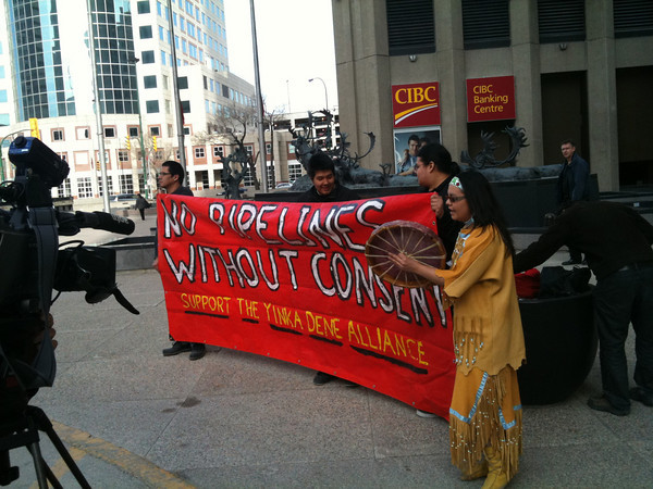 Jasmine Thomas and Supporters at the CIBC AGM in Winnipeg