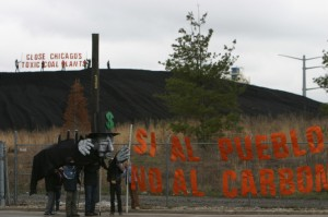 Coal Plant Protest Banner Reads