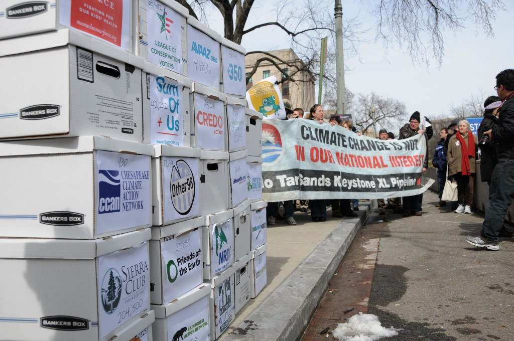 Boxes representing more than 2 million comments calling on the Obama Administration to reject Keystone XL.