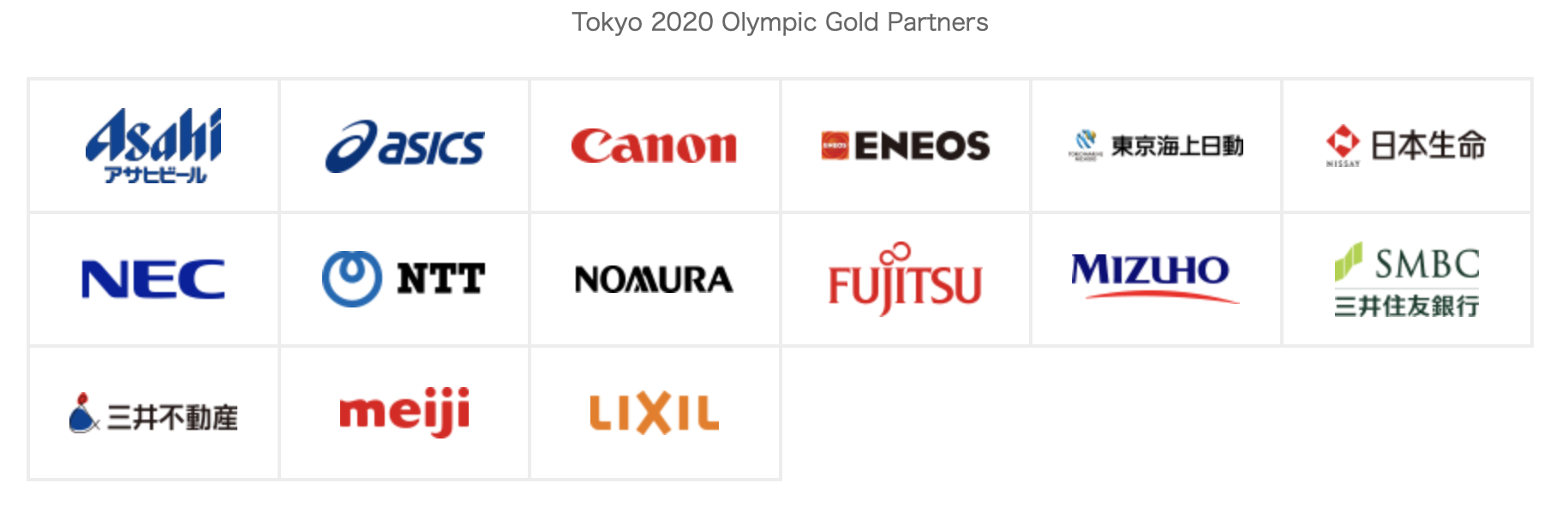 Tokyo 2020 Olympic Sponsors - Gold Partners