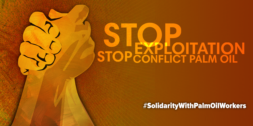 Hands clasped, stop exploitation, stop conflict palm oil