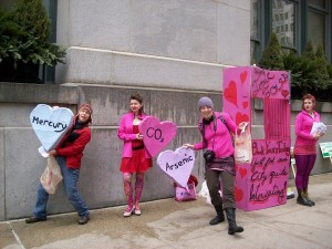 RAN Chicago and their heart props outside Chicago City Hall