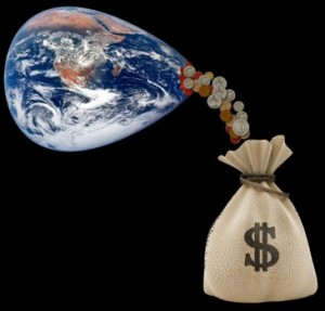 squeezing money from the earth