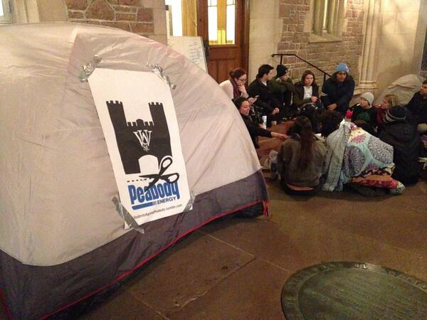First night of sit-in demanding Washington University cut ties with Peabody Energy
