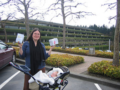 Liz and Sequoia outside Weyerhaeuser