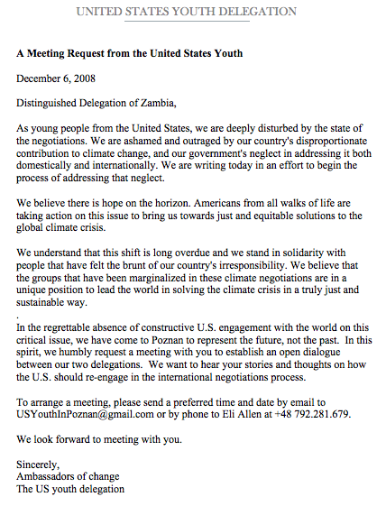 U.S. youth letter to UNFCCC delegates