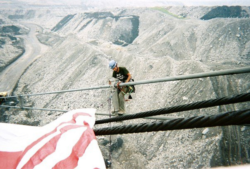 Activists shut down a dragline at the Twilight Mine, Boone County, West Virginia