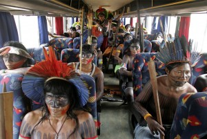 Indigenous leaders en route to a gathering and protest to stop plans for a dam on the Xingu River in Brazil