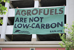 April 2009: Activists protest agrofuels in California