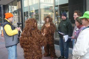 Orangutans asking Minnesotans for help on Nicolette Blvd in Downtown Minneapolis