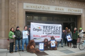 Delivering demands to Cargill in front of the Minneapolis Grain Exchange