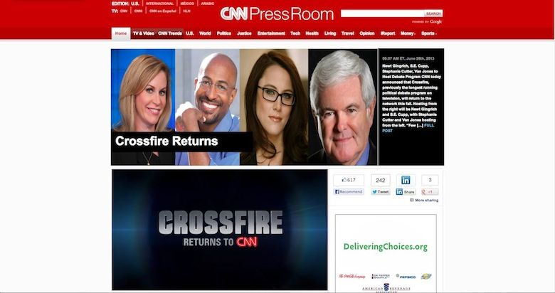 van jones cnn crossfire se cupp newt gingrich stephanie cutter