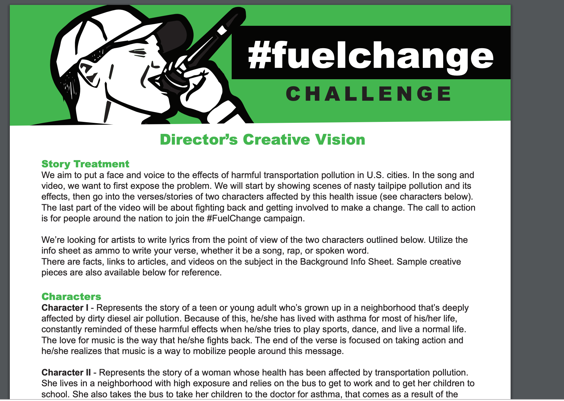 Fuel Change Challenge Director's Creative Vision
