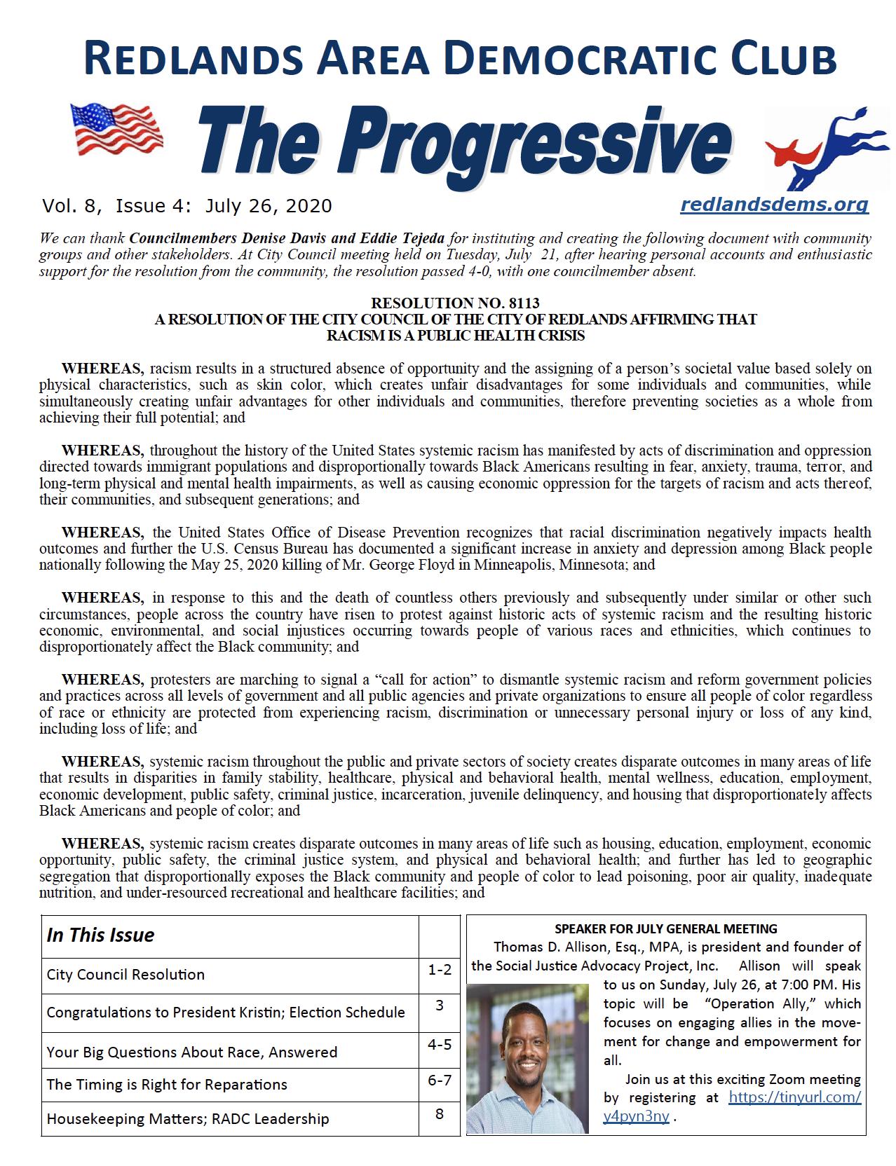 July Progressive Newsletter
