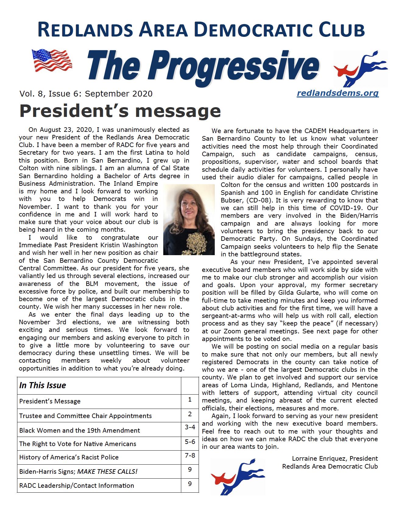 September 2020 Progressive Newsletter