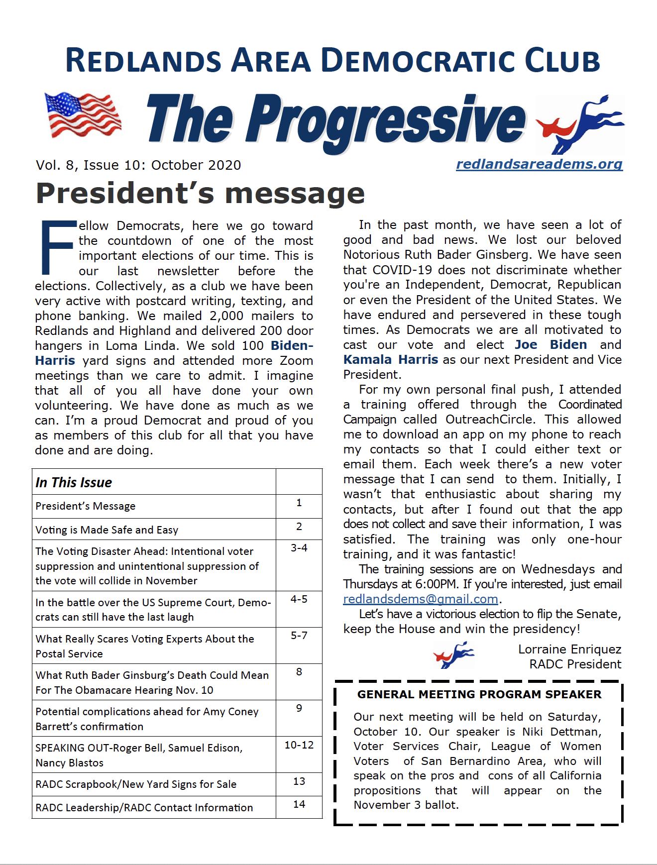 October Progressive Newsletter