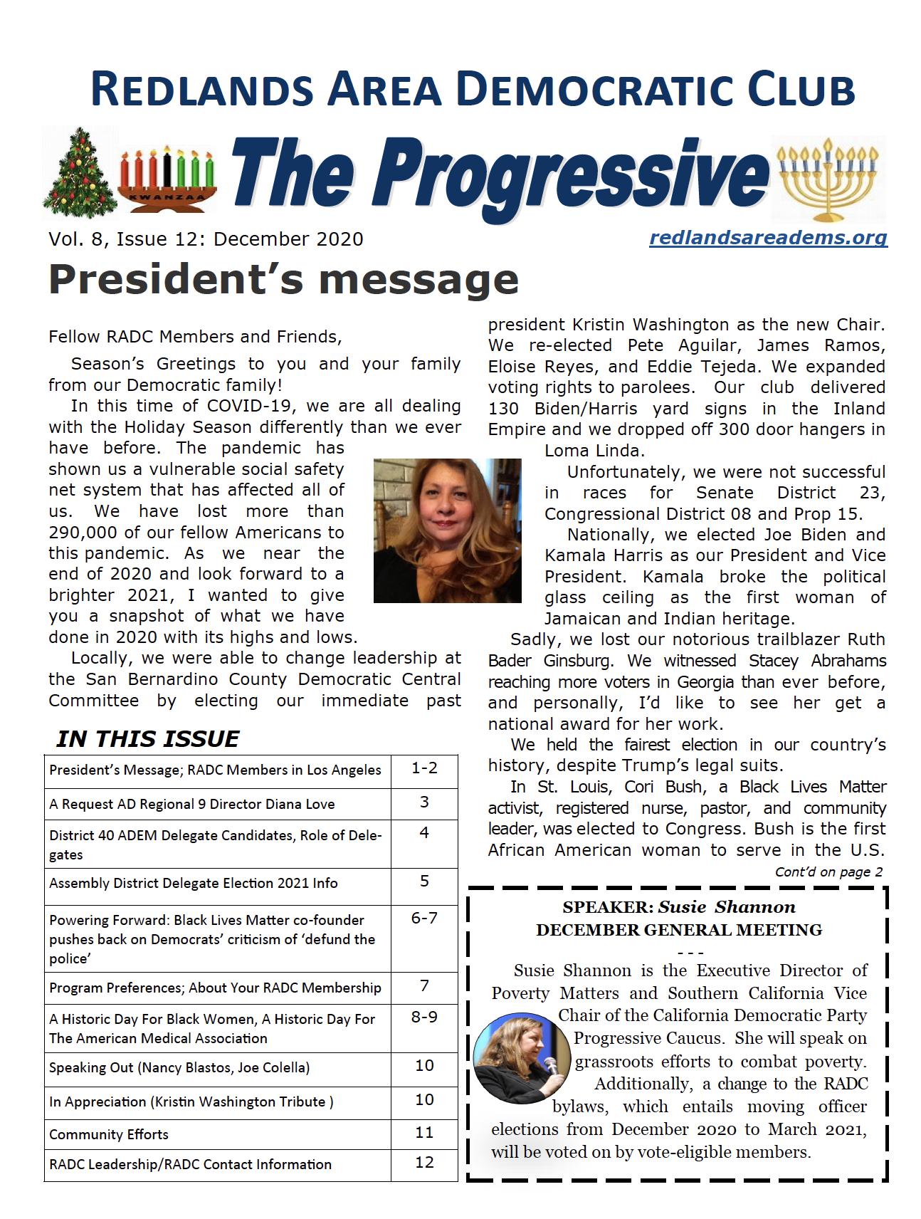 December 2020 Progressive Newsletter