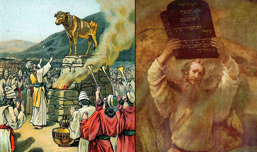 Worship Golden Calf, Moses 10 Commandments