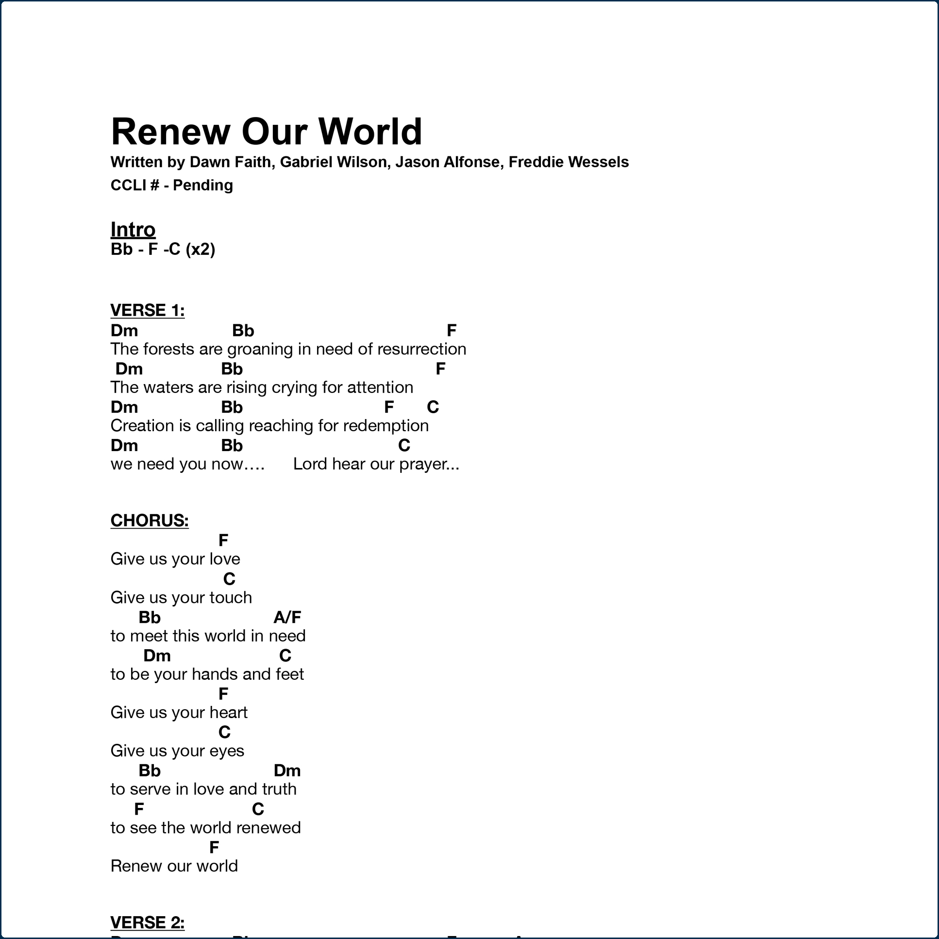 Renew Our World - Chord Chart