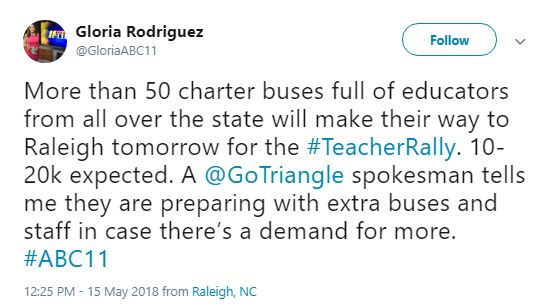 ABC 11 May 16 tweet - 50 Charter Buses