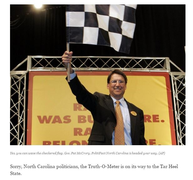 Politifact NC - McCrory - Checkered Flag - VOTER ID