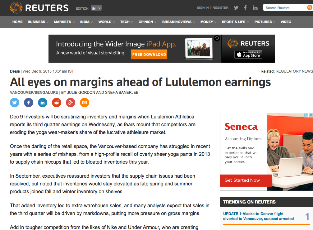 7d1eb05e62 Investors will be scrutinizing inventory and margins when Lululemon  Athletica reports its third quarter earnings on Wednesday, as fears mount  that ...