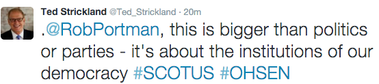 Tweet by @Ted_Strickland