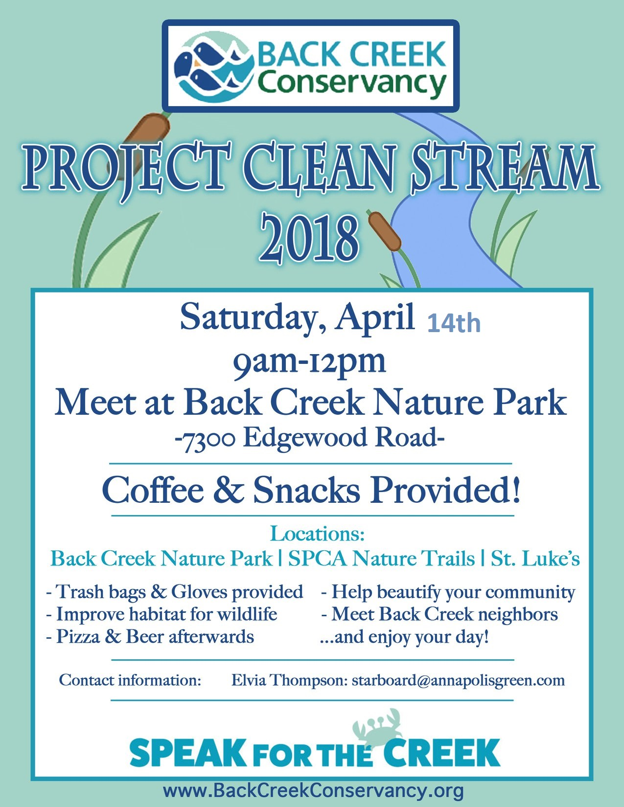 back creek cleanup April 14th 9-10