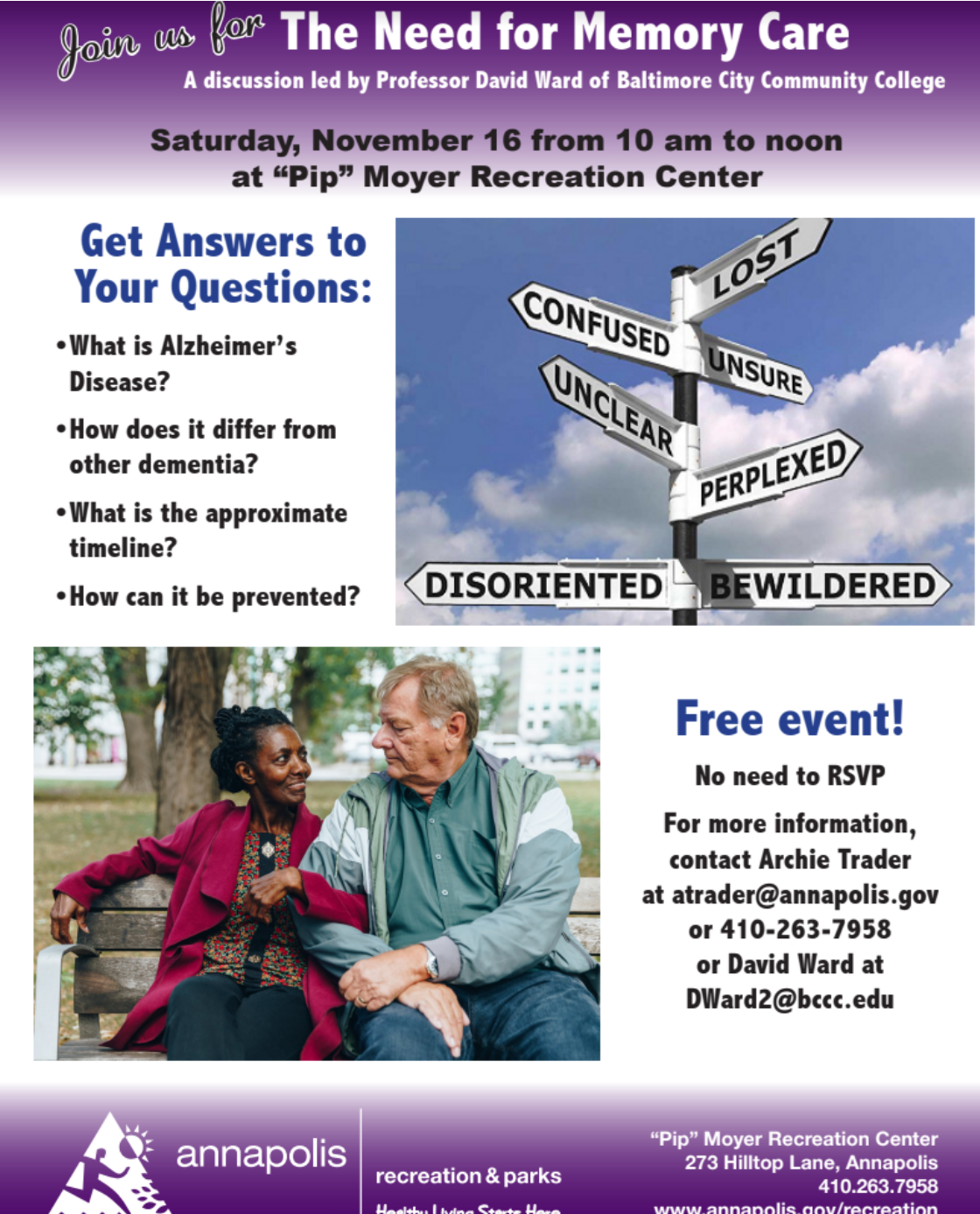 flyer for memorry care event