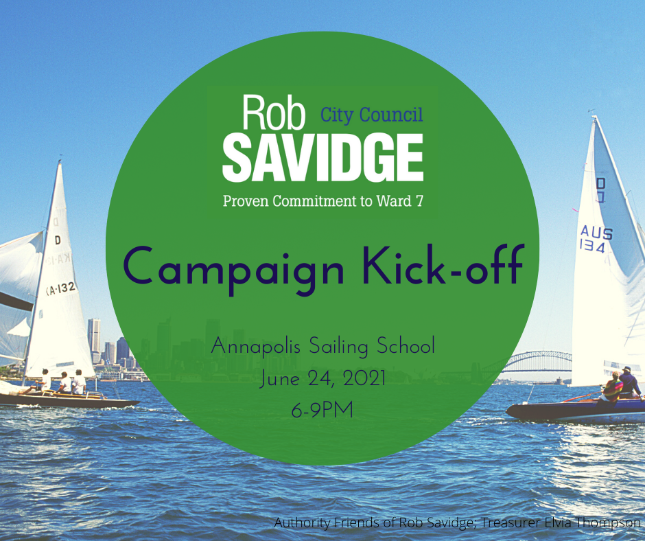 Flyer for kick-off event for Savidge re-election campaign to City Council Ward 7
