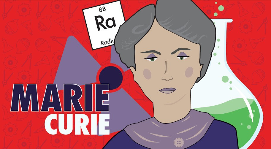 Marie Curie, illustration by Rosie Riveters co-founders Brittany Greer & Casey Huerta