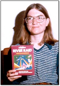 Carol Shaw, with the Atari masterpiece River Raid.