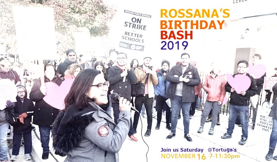 Rossana speaking at a CTU/SEIU picket line